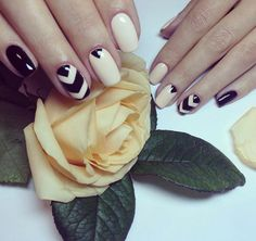 Beautiful nails 2016, Black and beige nails, Evening nails, Everyday nails, Fall…