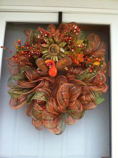 Autumn Deco Mesh Wreath by QueenWreaths on Etsy, $100.00