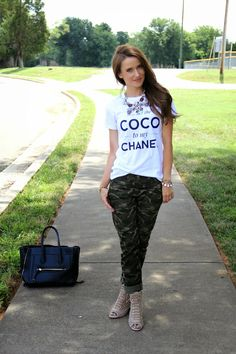 Kiss Me Darling Style Lately Tee, camo pants, coco to my Chanel, statement necklace