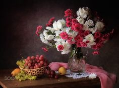 Still life with flowers and fruit - null