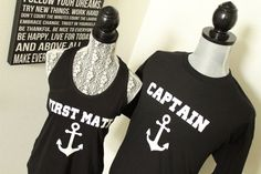 Mr and Mrs Nautical Anchor shirts, Her Captain and His First Mate shirts, Bride and Groom Nautical Shirts, His and Hers shirts by ArenLace, $39.95