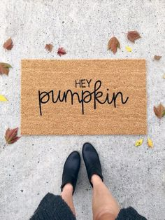 """Wedding Gift Celebrate your favorite season in style and take your fall decor to the next level with this """"hey pumpkin"""" doormat! Or give this coir welcome mat as a housewarming gift or wedding gift to your loved ones. Fall Home Decor, Autumn Home, Diy Home Decor, Coir Doormat, Fall Doormat, Black Acrylic Paint, Welcome Mats, Handmade Home Decor, Handcrafted Gifts"""
