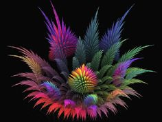 Spiky Rainbow Garden by wolfepaw on DeviantArt Rainbow Theme, Rainbow Colors, 3d Wallpaper Uk, Rainbow Garden, Bright Art, Fractal Art, Fractal Design, Learn To Paint, Op Art