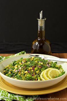 Green on Green Couscous Salad - thecafesucrefarine.com