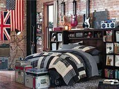 Decoração rock 'n' roll de um quarto de guitarrista