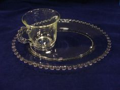 Vintage Imperial Glass CANDLEWICK Clear TRAY AND CUP SNACK SET #depressionglass #candlewick