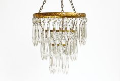 Vintage Crystal Chandelier  French 3 Tier Icicle by CrolAndCo