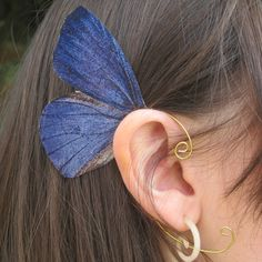 Green Pencil Blue Butterfly Ear Cuff Jewelry by NightLilyDesign, $12.00