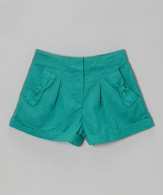 Another great find on #zulily! Teal Linen Ruffle Shorts - Toddler & Girls by Kalliope #zulilyfinds