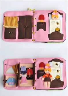 Travel fabric Dollhouse book with felt doll. It's a great present for your child! This dollhouse has interesting content and encourage the development of hands. Contains little parts, not suitable for children under 3. But you can remove them until the child grows into them. The dollhouse will be interesting to children from age they understand pretend play (about two years old). Since it is a handmade item, book design may differ slightly depending on the availability of working material…