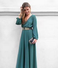 Vestido largo gasa verde