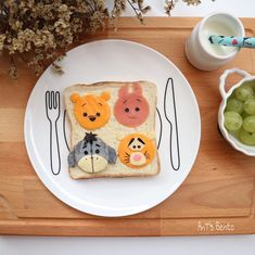 Hundred Acre Wood Gang toast art by AnT's Bento (@antsbento)