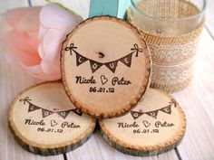 Personalized Love Banner Bunting Names and Date Hand Carved Rubber Stamp by SweetSpotStampShop