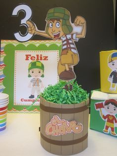 "Cousin made ""el Chavo del ocho"" centerpiece. This is a well know tv show from Mexico."
