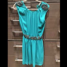Emerald Dress Gorgeous emerald color dress with beaded details. Excellent condition Zara Dresses