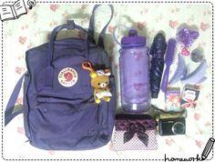 投稿《What's in your Kånken bag ?! 》徵件活動-by 張雅雯  款式: Kånken classic深紫。  說明: 我特愛紫色..還有機車跟手錶都是紫色的唷!