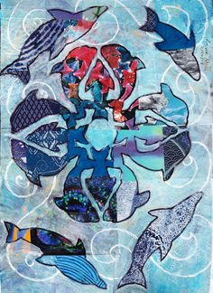 """Hawaiian Dolphins"": Collaged background painted with absorbent ground, letting the pattern show through. Pattern based on a Hawaiian quilt pattern."