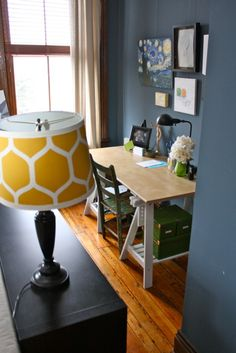 Yellow lamp shade with Jessica's colors