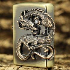 Japanese Zippo Brass 4 Sides Tornado Dragon Lighter