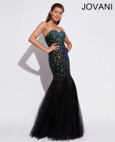 Now $335.99 Jovani 89642 Prom Pageant Black Beaded Dress Backless ...