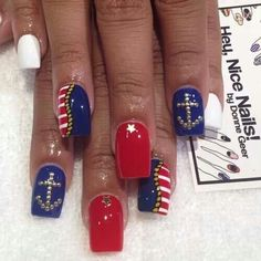 Nautical nails for female sailors for memorial day and veterans day! Navy Nail Art, Nautical Nail Art, Navy Nails, Aztec Nails, Chevron Nails, Nautical Design, Sailor Nails, Cruise Nails, Anchor Nails