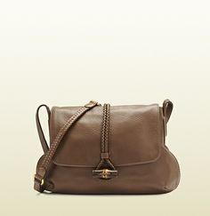 hip bamboo leather flap shoulder bag