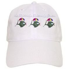 Funny Fish Cap.  Express your offbeat sense of humor with this funny umbrella fish cap.  Visit SplashingHoney.com for more great caps and t-shirts!