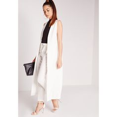Missguided Sleeveless Maxi Duster Coat (€45) ❤ liked on Polyvore featuring outerwear, coats, white, sleeveless blazer, blazer jacket, white blazer jacket, white coat and tailored blazer