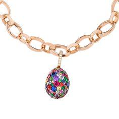 Emotion egg charm with multi-coloured gemstones
