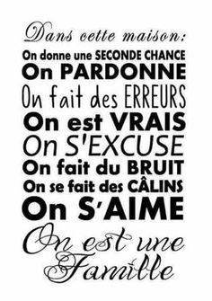On est famille Positive Attitude, Positive Thoughts, Some Quotes, Best Quotes, Love One Another Quotes, French Quotes, Visual Statements, Learn French, Some Words