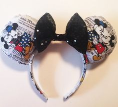 Mickey and Minnie newspaper Mouse Ears by PixieDustedBows on Etsy