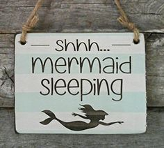 Mermaid Sleeping - Small Hanging Sign - Baby Sleeping Sign - Baby Shower Gift from Edison Wood Mermaid Bedroom, Mermaid Nursery, Girl Nursery, Mermaid Baby Showers, Baby Mermaid, The Little Mermaid, Baby Sleeping Sign, Big Girl Rooms, Hanging Signs