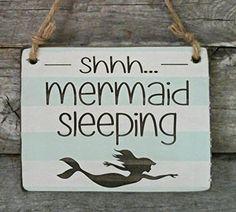 Shhh... Mermaid Sleeping - Small Hanging Sign - Baby Sleeping Sign - Baby Shower Gift