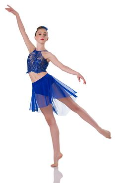Top: Royal blue lace and nude mesh ; Skirt With Attached Trunks: Royal blue spandex and royal mesh ; Trim: Royal binding and adjustable straps ; Modern Contemporary Dance, Contemporary Dance Costumes, Modern Dance, Dance Costumes Lyrical, Ballet Costumes, Lyrical Dance, Blue Leotard, Jazz Shoes, Dance Tights