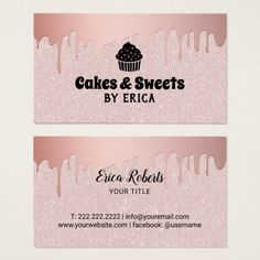 Cakes & Sweets Cupcake Home Bakery Pink Glitter Business Card Home Bakery Business, Cake Business, Business Card Design, Creative Business, Business Ideas, Baking Logo Design, Cake Logo Design, Bakery Design, Vintage Graphic Design