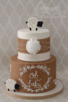 Sheep Baby Shower Cake