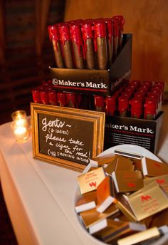 Makers Mark cigars as wedding favors and personalized matches at the whiskey bar, My husband is a whiskey drinkers and we have been recently trying cigars as well. This is the perfect favor Unique Wedding Favors, Wedding Party Favors, Unique Weddings, Wedding Gifts, Wedding Ideas, Wedding Invitations, Budget Wedding, Wedding Decor, Wedding Inspiration