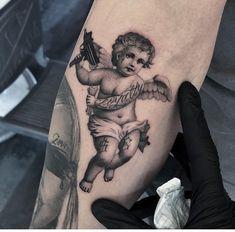 Chicano Tattoos Sleeve, Red Ink Tattoos, Forarm Tattoos, Best Sleeve Tattoos, Tattoo Sleeve Designs, Body Art Tattoos, Hand Tattoos, Small Tattoos, Cupid Tattoo