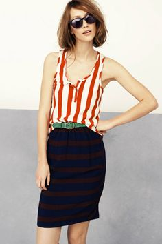 Outfit To Try: Mix awning stripes with thick, horizontal stripes for an impactful look that's super-easy to put together. (Look from Madewell.)