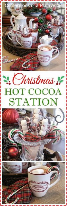 CONFESSIONS OF A PLATE ADDICT: My Christmas Hot Cocoa Station...That Doubles as a Centerpiece!