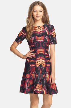 Gabby Skye Print Ponte Fit & Flare Dress was $98.00 now $58.80