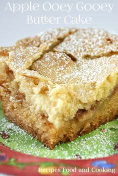 Spiced Apple Ooey Gooey Butter Cake has a cake bottom, a spicy apple filling and topped with an ooey gooey cream cheese mixture.