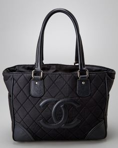 Chanel Black Nylon & Quilted Leather CC Tote is on Rue. Shop it now.