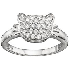 Hsus Cubic Zirconia Sterling Silver Cat Ring (White) (49 CAD) ❤ liked on Polyvore featuring jewelry, rings, white, cubic zirconia rings, pave ring, sterling silver cubic zirconia rings, engagement rings and white gold rings