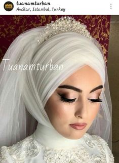 Tuanamturban ❤ There are different rumors about the real history of the wedding dress; Bridal Hijab, Muslim Wedding Dresses, Muslim Brides, Wedding Hijab, Muslim Girls, Muslim Couples, White Wedding Dresses, Muslimah Wedding, Simple Hijab