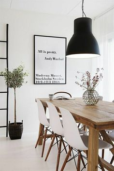 White chairs for new house (Dining room) andy warhol tavla,thonet,eames,hektar ikea lampa Room Design, Dining Room Design, House Styles, House Interior, Dining Room Decor, Scandinavian Dining Room, Scandinavian Interior Design, Interior Design, Home And Living