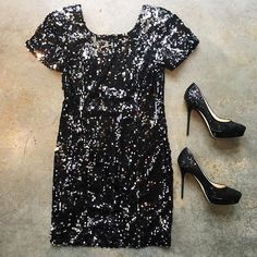 NYE Sparkle Sequin Dress by Milly! Jimmy Choo Heels #ShopMintAtl Call 404-343-2033 for sizes & prices