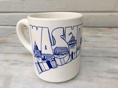vintage Washington D.C. mug, travel souvenir mug, blue and white, modern typography, US politics by MotherMuse on Etsy
