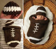 Crochet Baby Cocoons All The Cutest Ideas You'll Love crochet-football-cocoon Crochet Baby Cocoon Pattern, Newborn Crochet Patterns, Crochet Ideas, Knitting Patterns, Loom Knitting, Baby Knitting, Football Baby Blankets, Crochet Baby Costumes, Crochet Football