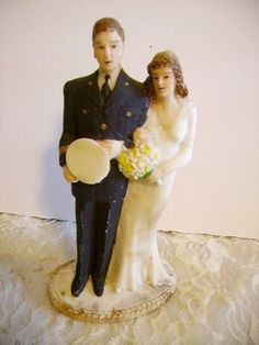 Vintage Tall Military Wedding Cake Topper Bride and Groom 6 1/2 from huntwoodantiques on Ruby Lane
